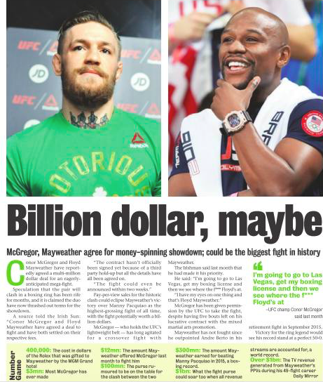 Flyod Mayweather denies fight between him and Conor Mcgregor being finalized via post on twitter today to dispel rumours of the 'billion dollar fight' circulating in the media including India's own Mumbai Mirror Today -