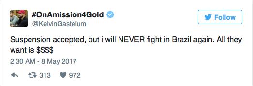 Kelvin Gastelum says sayonara to fighting in Brazil -