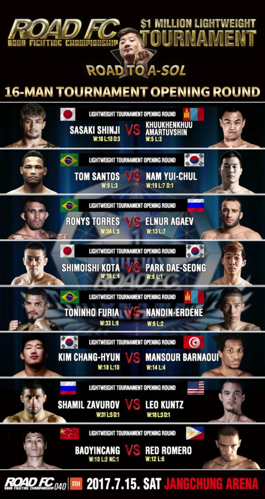 ROAD FC $1 Million Tournament Final Matches Announced -
