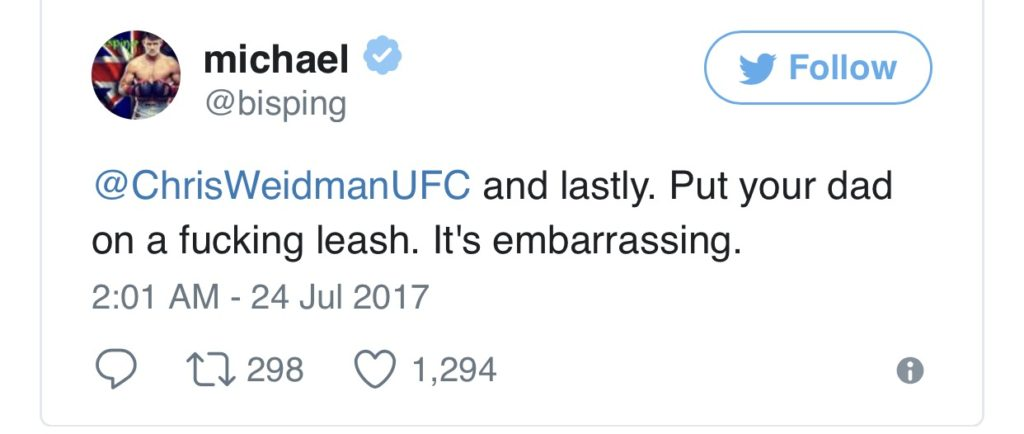 Weidman to Bisping : Baap pe mat ja saale ! -