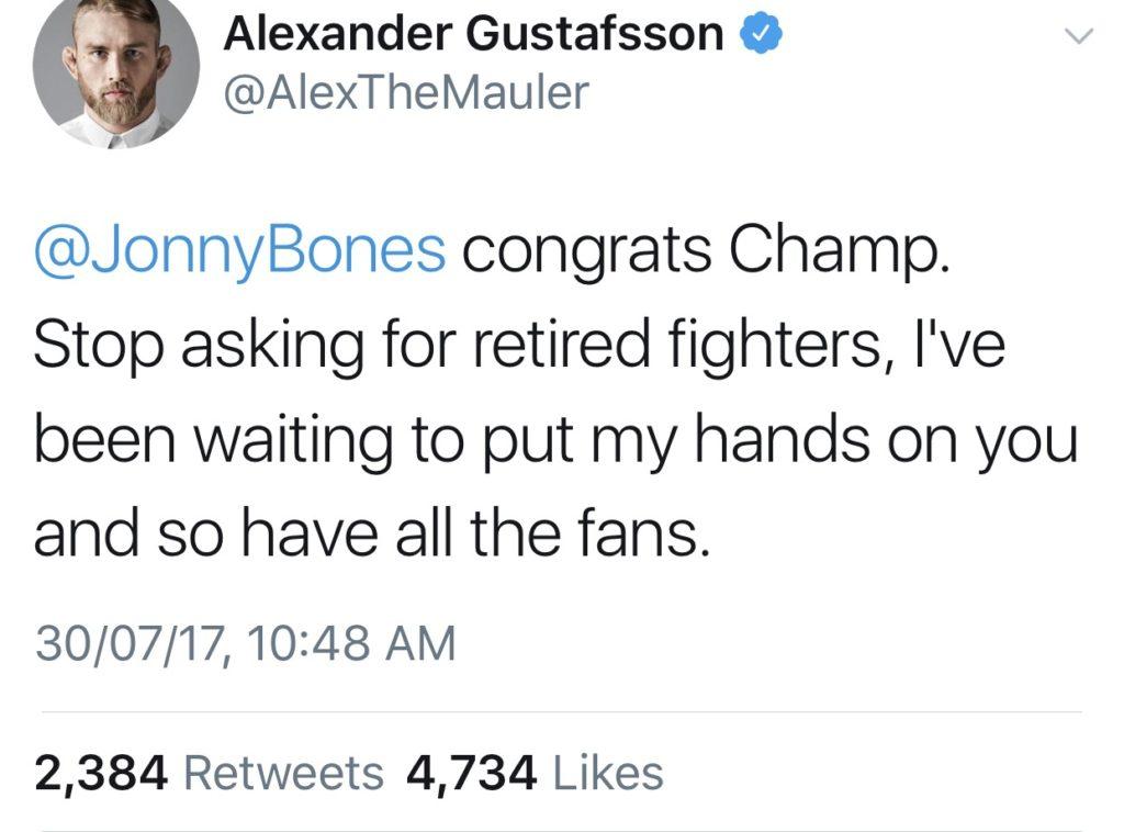 Jon Jones calls out Brock Lesnar again, Gustafsson calls out Jones -