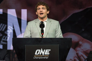 Ben Askren Faces Off with Shinya Aoki At ONE: Immortal Pursuit Kick-Off Press Conference -
