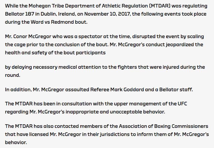 Commission President issues statement regarding Conor Mcgregor fracas at Bellator 187 -