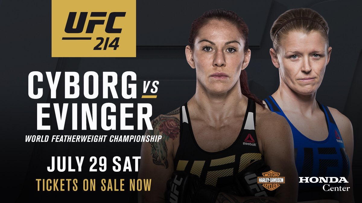 Anderson out, Evinger in, against Cyborg for UFC 214 -