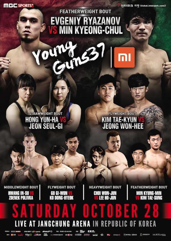 Xiaomi ROAD FC 043 Young Guns 37 preliminary card now open -
