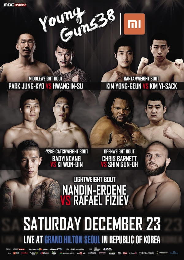 Xiaomi ROAD FC 045 XX: all matches open for Young Guns 38 prelims -