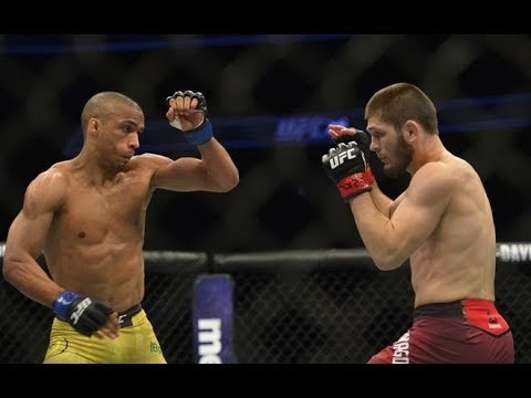 Edson Barboza gives a statement after his loss to Khabib Nurmagomedov at UFC 219 -