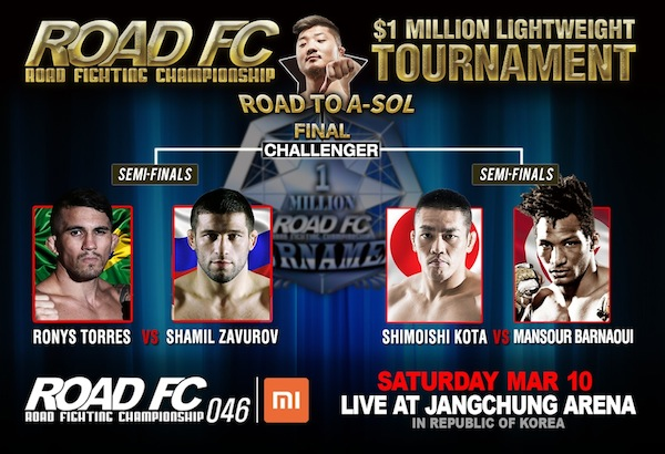 Xiaomi ROAD FC 046: $1 Million Lightweight Tournament Semifinals Set -
