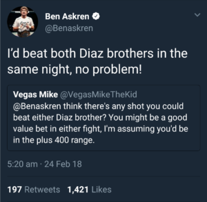UFC News: Ben Askren claims he can beat both Nate and Nick Diaz on a single night - Ben Askren