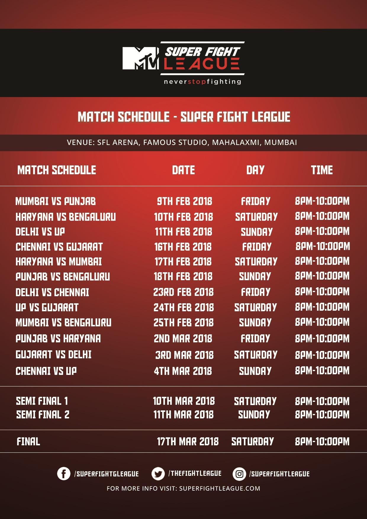 Super Fight League Match Schedule – MMA India