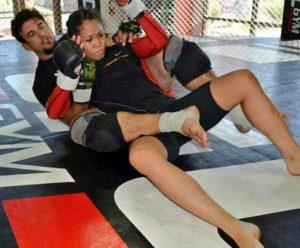 Ana Julaton trains with MMA legend Frank Mir