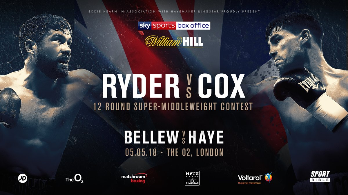 Boxing: John Ryder vs Jamie Cox added to Haye vs Bellew undercard - Ryder
