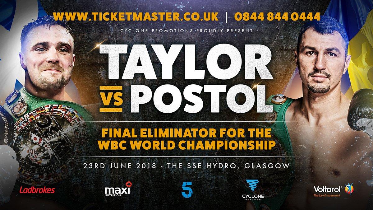 Boxing: Josh Taylor Returns June 23 Against Viktor Postol - Taylor
