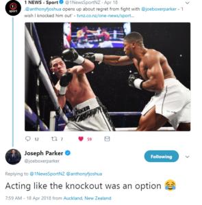 Boxing: Joseph Parker fires back at Anthony Joshua knockout claim - Parker