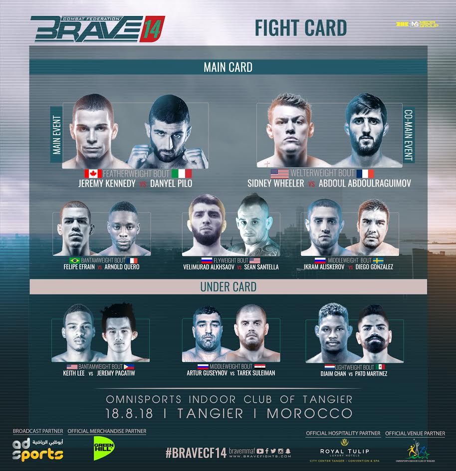 Fight card announced for Brave 14 in Morocco - brave combat