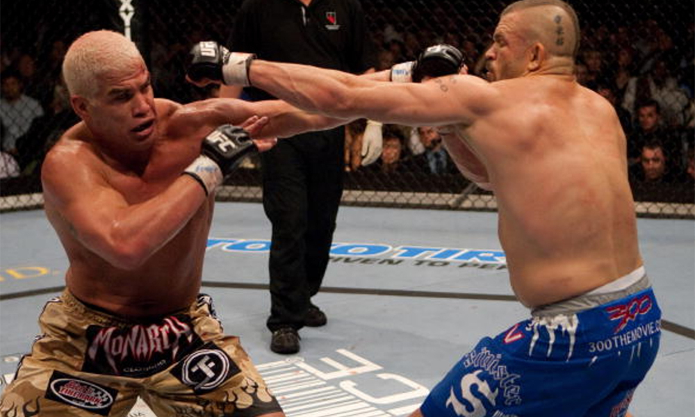 Chuck Liddell and Tito Ortiz square off during the UFC Hall of Fame ceremony. -