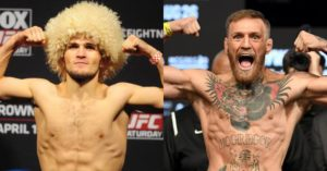 Conor and Khabib have to be pulled apart during the weigh-ins - Conor McGregor
