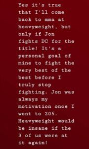 Rumble entertaining return....but only if Jon Jones fights DC for the HW title first - Anthony Johnson