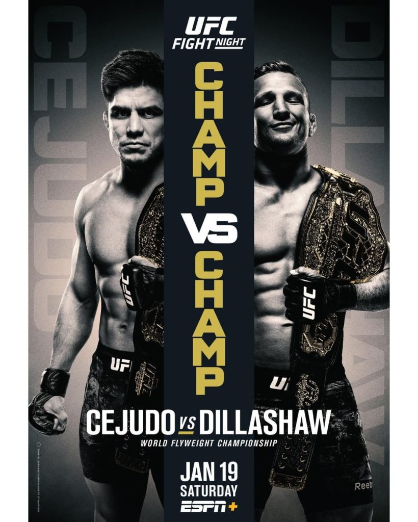 UFC official poster of Henry Cejudo Vs T. J. Dillashaw