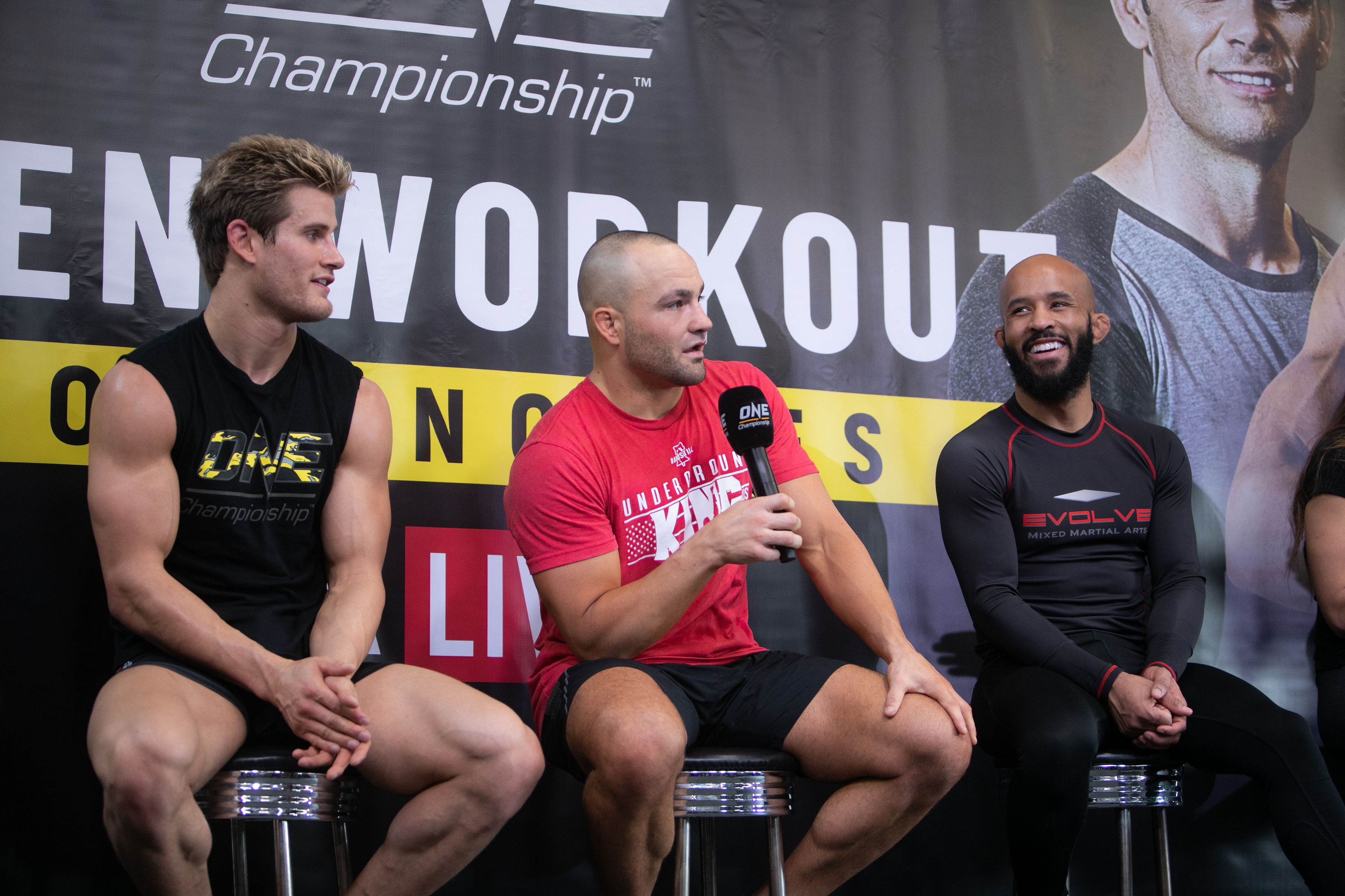 DEMETRIOUS JOHNSON, EDDIE ALVAREZ, AND SAGE NORTHCUTT IN ONE CHAMPIONSHIP LA OPEN WORKOUT -
