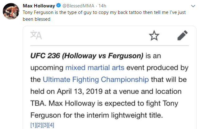 Did Max Holloway just hint at an interim lightweight title fight with Tony Ferguson? -