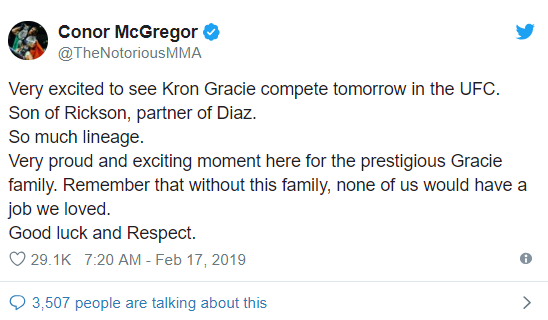 Conor McGregor pays tribute to the Gracie family ahead of Kron's octagon debut -