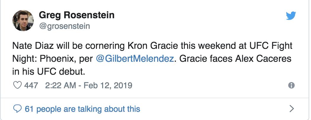 Nate Diaz Set To Corner Kron Gracie At UFC on ESPN 1 -