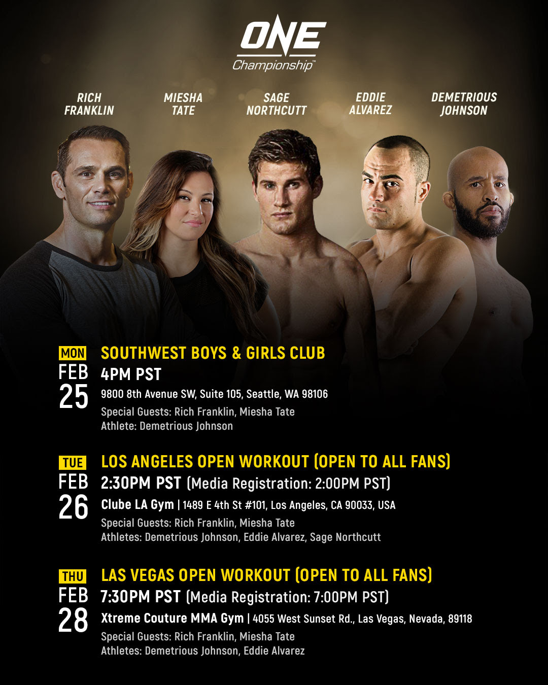 RICH FRANKLIN AND MIESHA TATE TO JOIN ONE CHAMPIONSHIP US MEDIA TOUR -