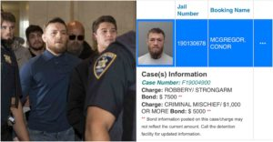 Conor McGregor arrested in Miami beach, charged with strong-armed robbery and criminal mischief - Conor