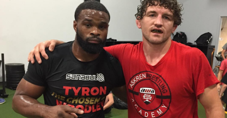 """Watch: Tyron Woodley and Ben Askren tease their new show """"Flip Flops and Drop Tops"""" on Helwani's show -"""
