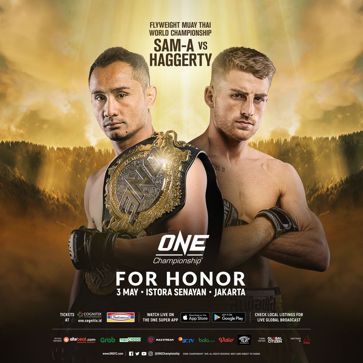 SAM-A GAIYANGHADAO TO DEFEND ONE FLYWEIGHT MUAY THAI WORLD TITLE AGAINST JONATHAN HAGGERTY AT ONE: FOR HONOR IN JAKARTA -