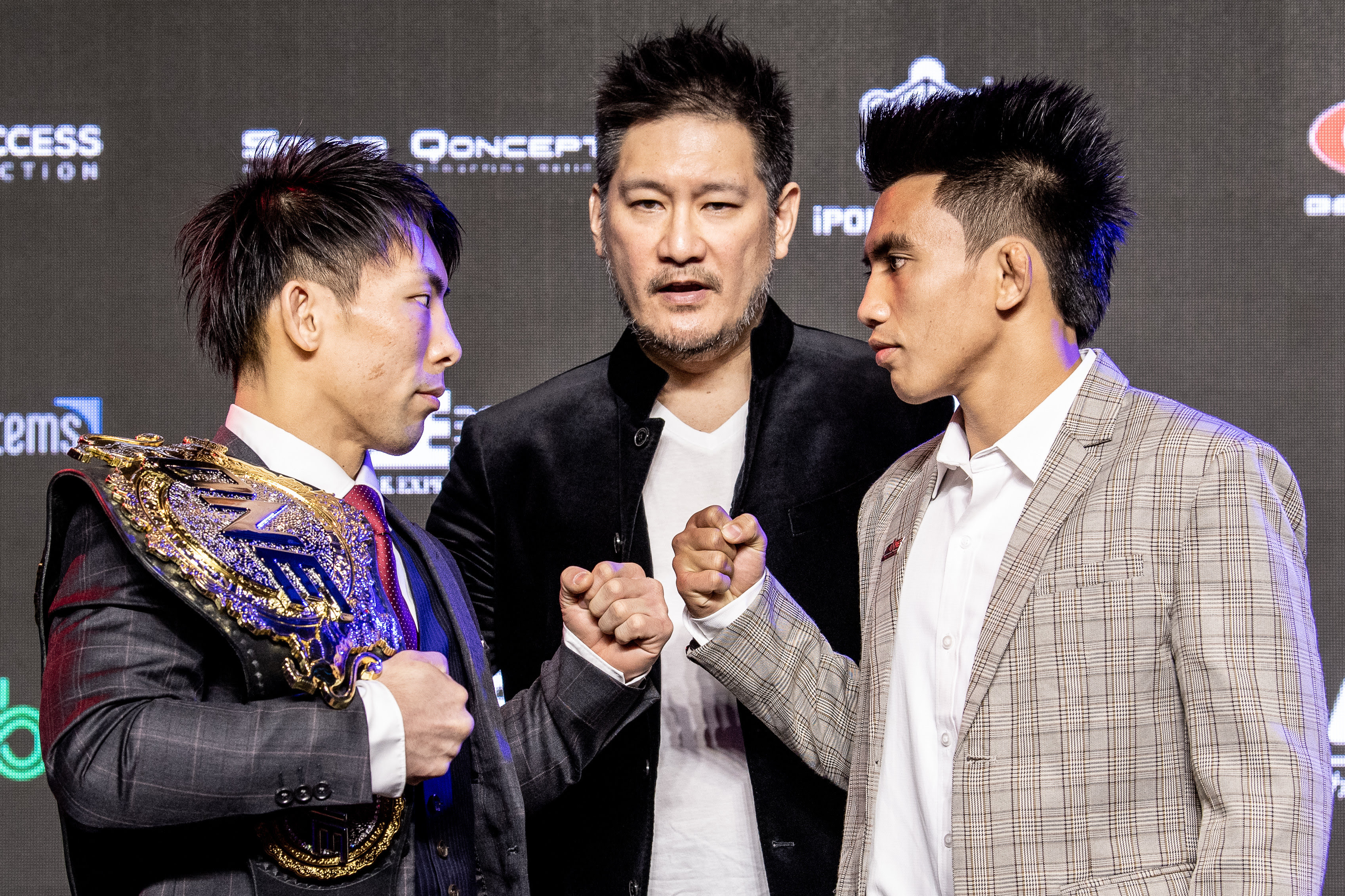 MARTIN NGUYEN AND NARANTUNGALAG JADAMBAA STARE DOWN AT ONE: ROOTS OF HONOR OFFICIAL KICK-OFF PRESS CONFERENC -
