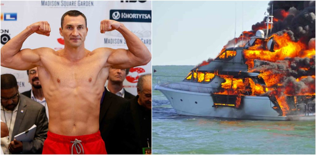 Boxing legend Wladimir Klitschko rescued from a BURNING luxury yacht