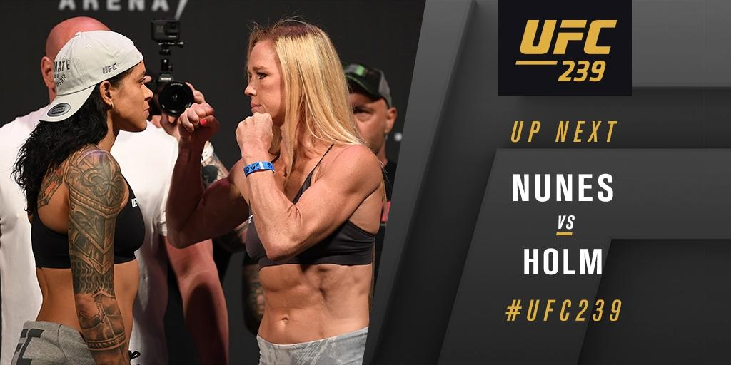 UFC 239 Results - Amanda Nunes Head Kicks Holly Holm for a TKO Win Round 1 -