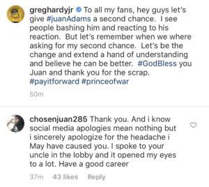 Classy Greg Hardy and Juan Adams make peace after bitter feud - Hardy