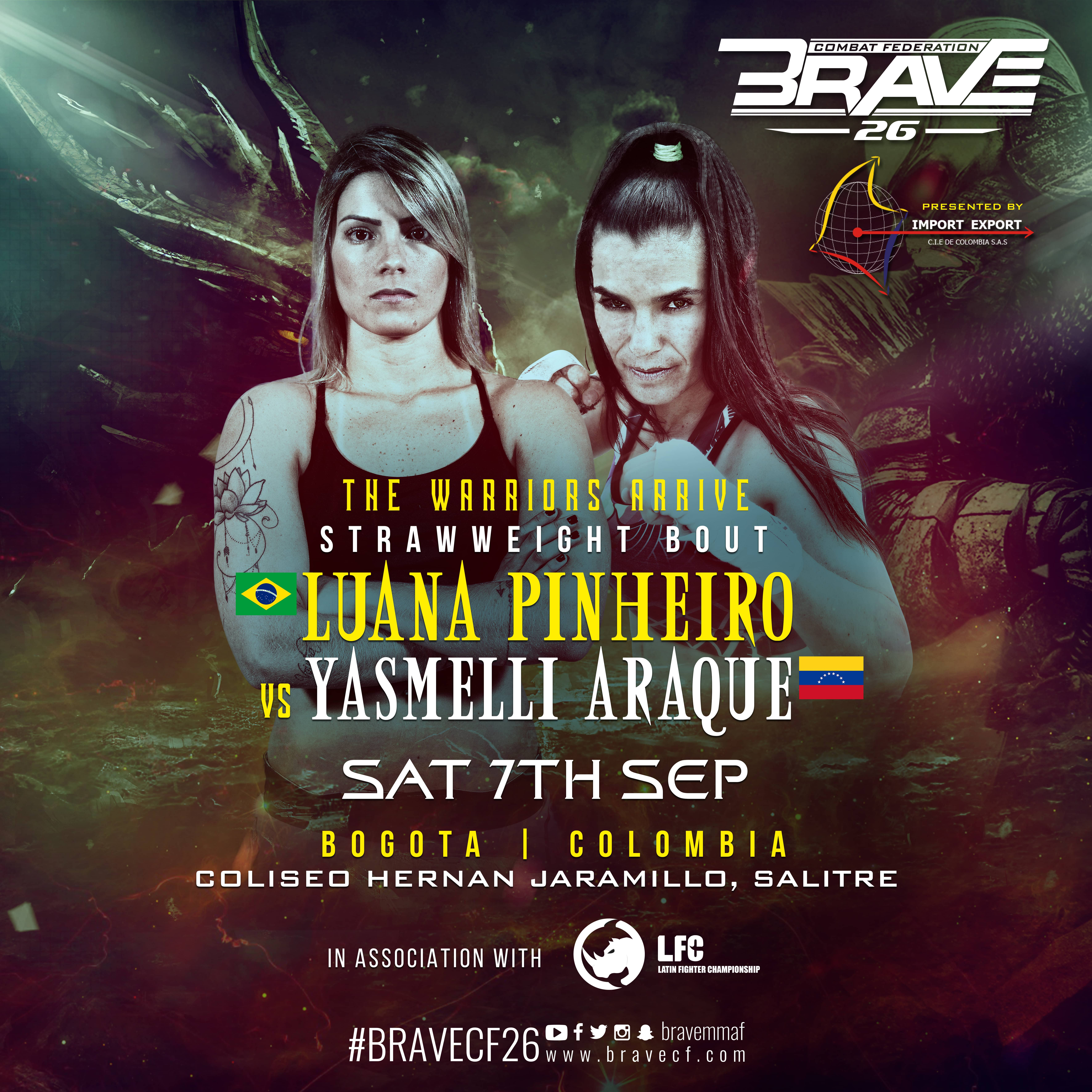 Luana Pinheiro's return set for BRAVE 26, in Colombia -