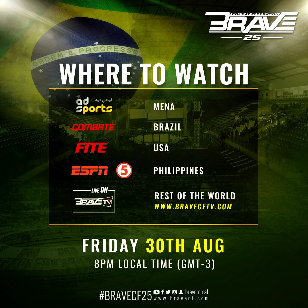 BRAVE TV to broadcast return to Brazil live and free – MMA India