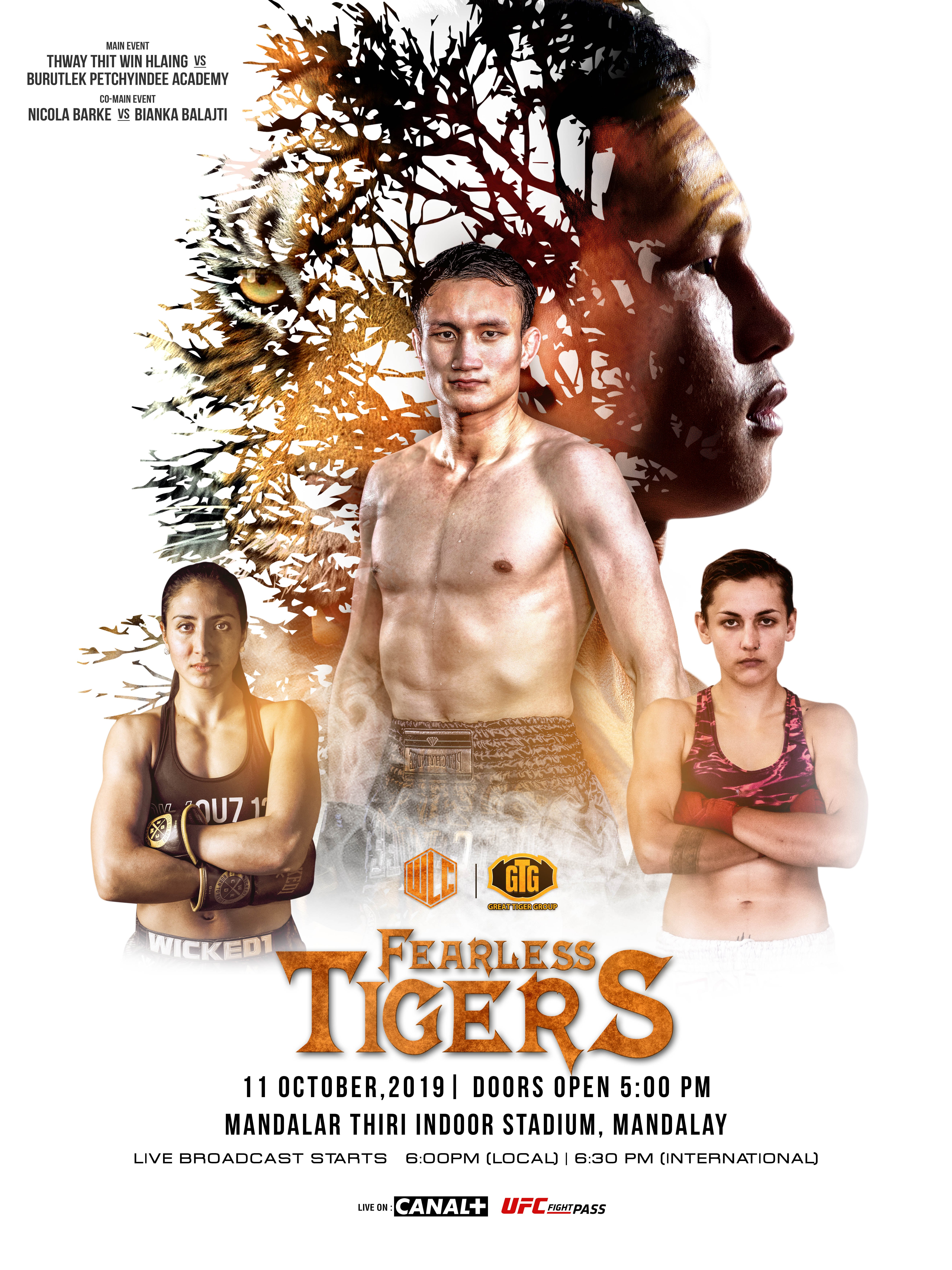 THWAY THIT WIN HLAING FACES BURUTLEK PETCHYINDEE ACADEMY IN MAIN EVENT AT WLC: FEARLESS TIGERS -