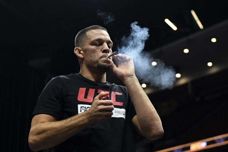 Watch: Nate Diaz booms a CBD joint before open workout - and everyone's going crazy! - Diaz