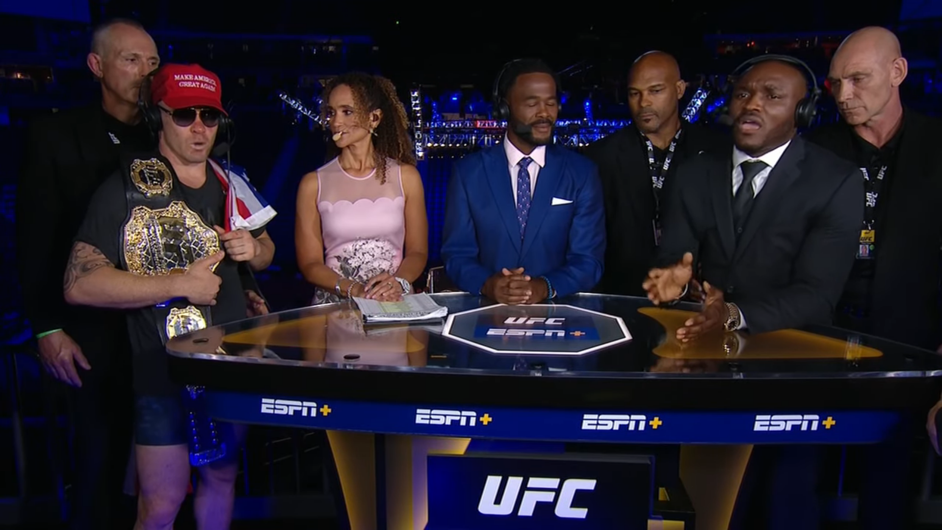 Watch: Colby Covington and Kamaru Usman have to be restrained at the ESPN desk - Colby