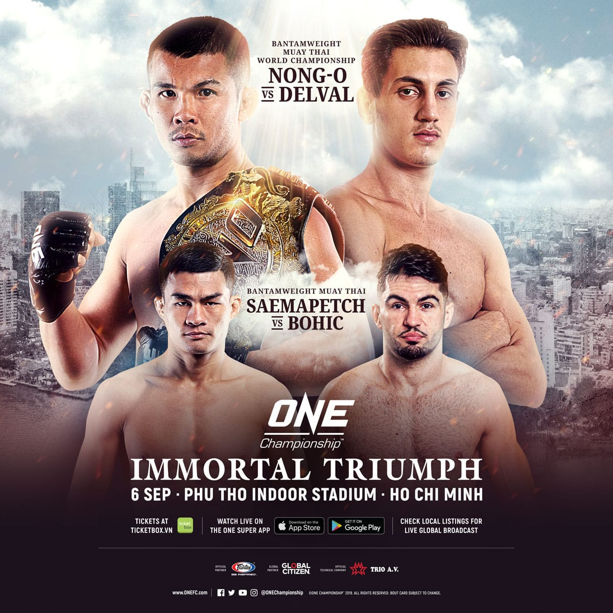 NONG-O GAIYANGHADAO DEFENDS ONE BANTAMWEIGHT MUAY THAI WORLD TITLE AGAINST BRICE DELVAL AT ONE: IMMORTAL TRIUMPH -
