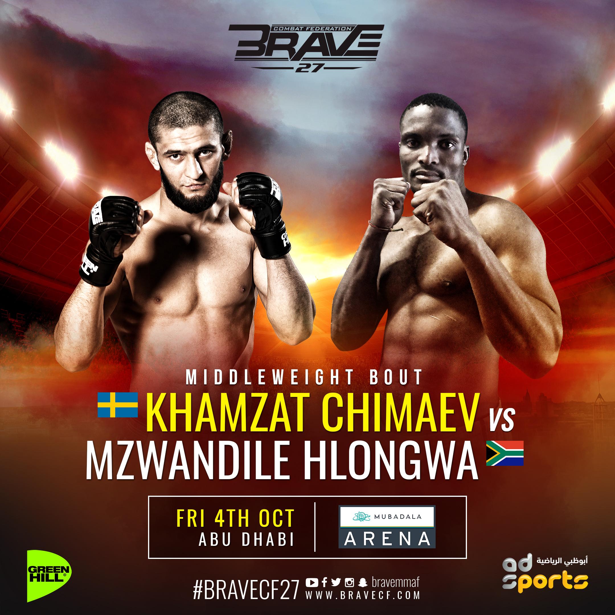 Rising superstar Chimaev meets internet sensation Hlongwa at BRAVE 2 - BraveFC