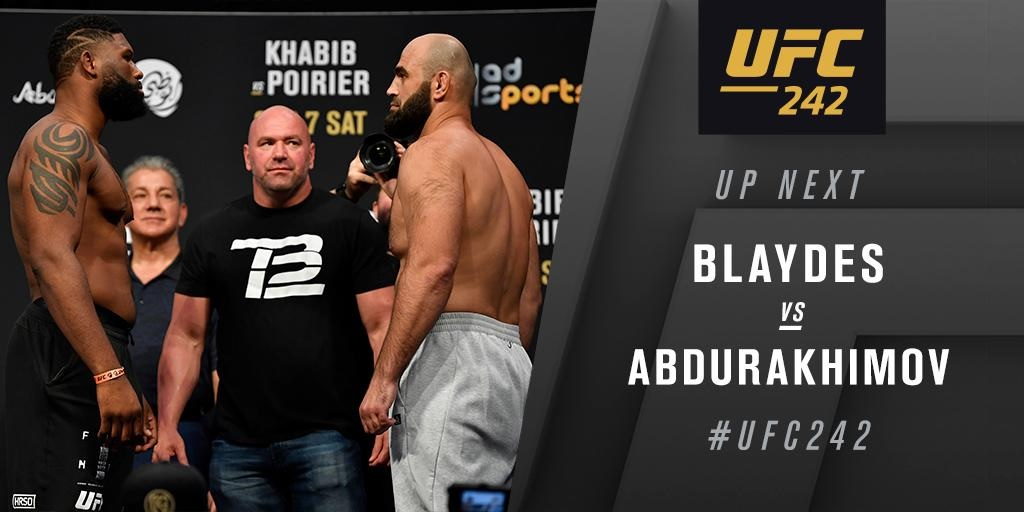 UFC 242 Results - Curtis Blaydes Stops Shamil Abdurakhimov with His Brutal Ground and Pound -