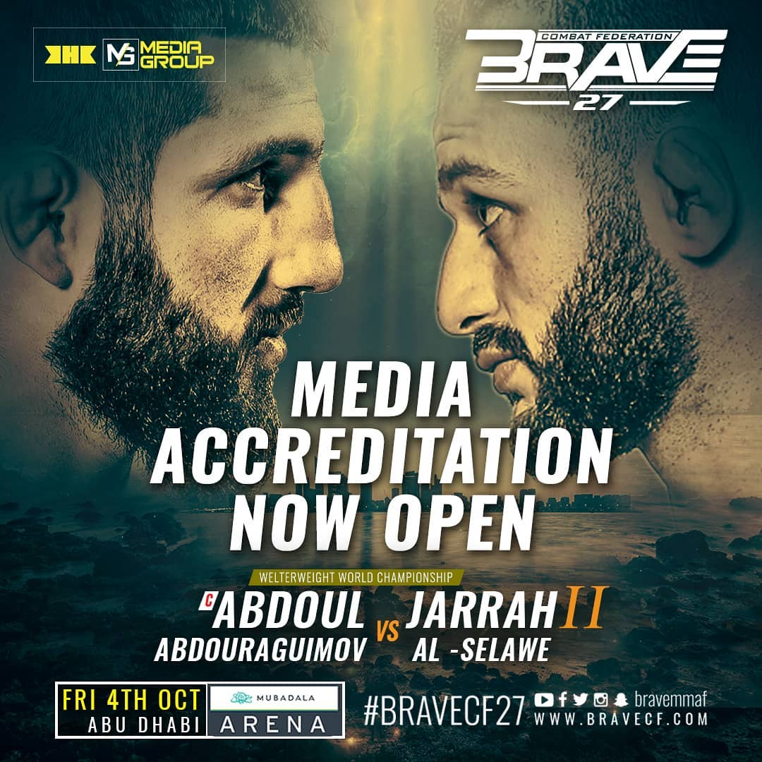 Media accreditation is now open for BRAVE CF 27 in Abu Dhabi -