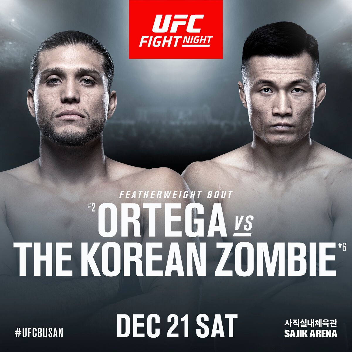 "UFC BUSAN main event confirmed as ""The Korean Zombie"" Chan Sung Jung vs Brian ""T-City"" Ortega - UFCBusan"