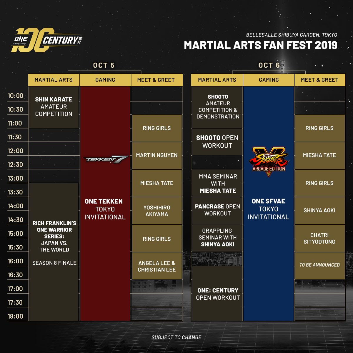 ONE MARTIAL ARTS FAN FEST OFFICIAL SCHEDULE ANNOUNCED -