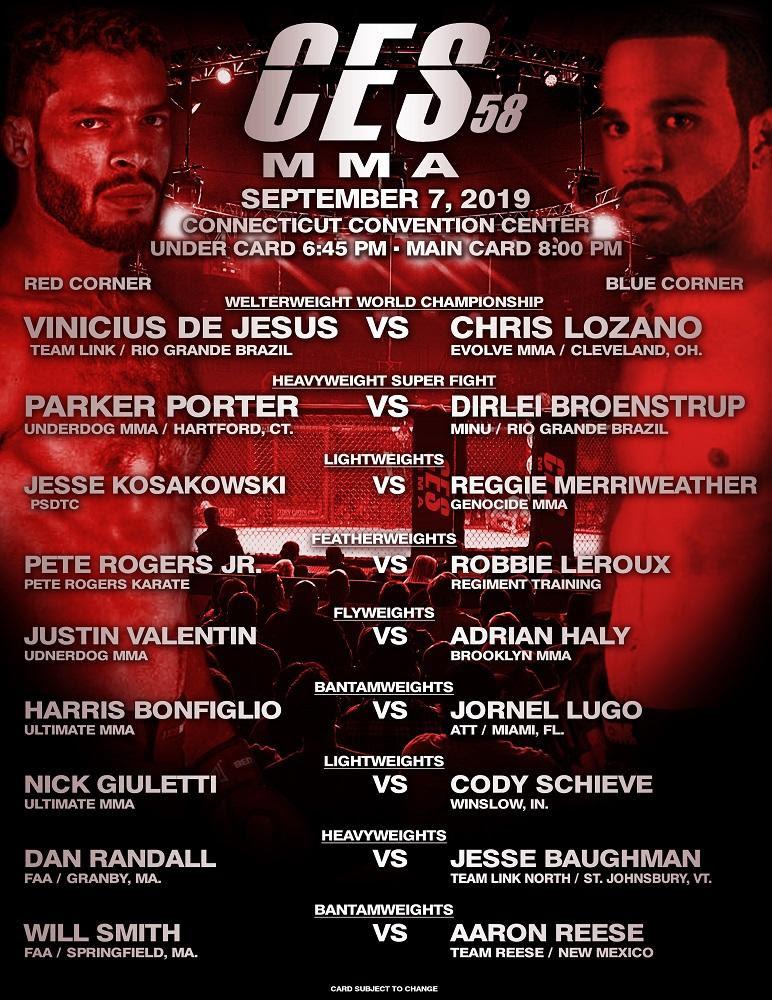 CES MMA 58 Vinicius De Jesus vs. Chris Lozano CES MMA Welterweight World Championship -