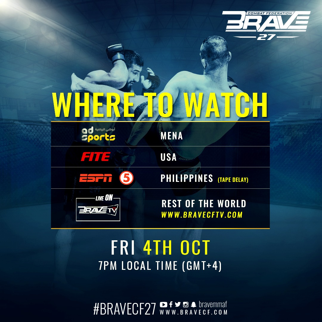 Watch BRAVE CF 27 live and free as Abdoul and Jarrah look to settle rivalry - AbuDhabi
