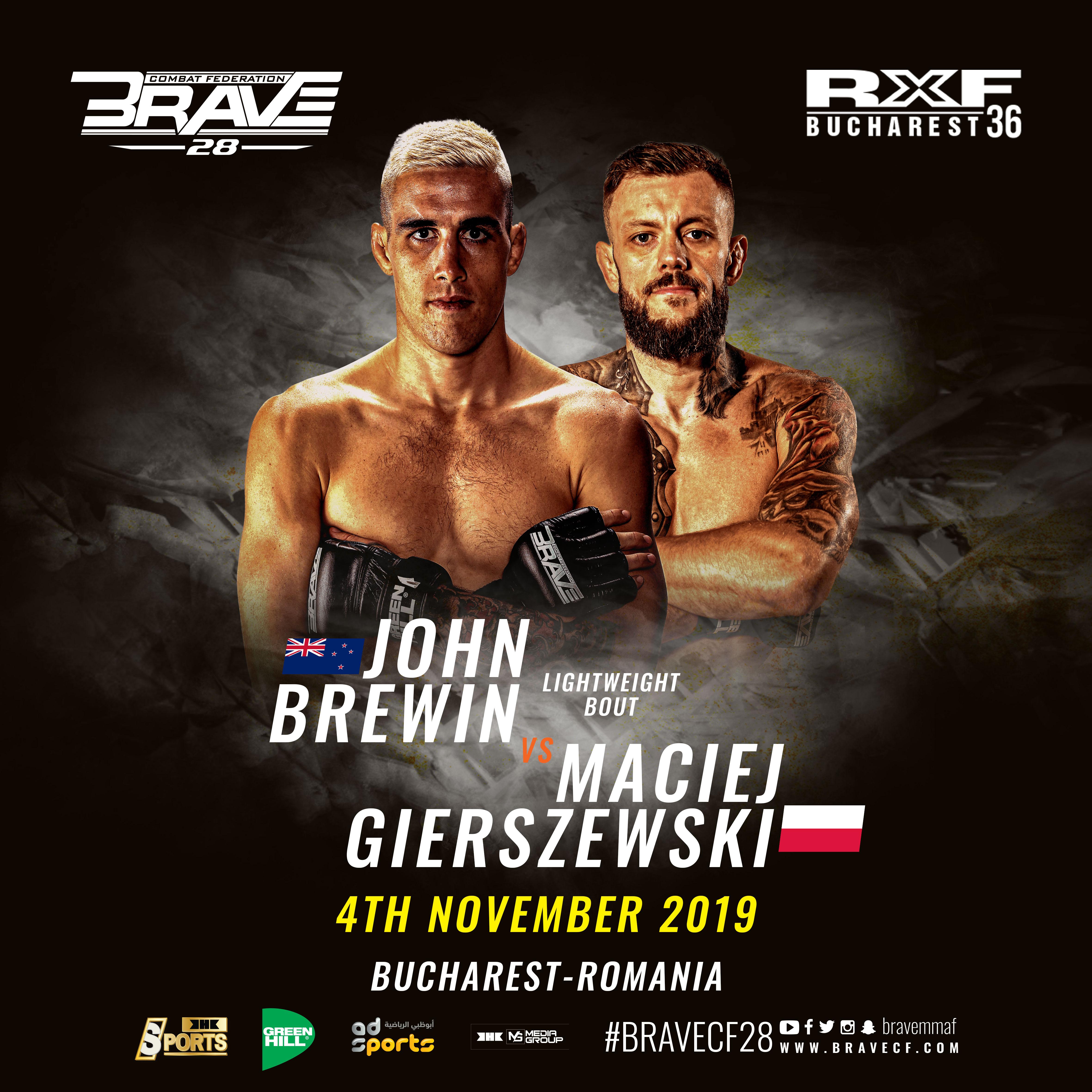 BRAVE CF 28: KO artists Brewin and Gierszewski to clash in the main event - BraveCombatFederation