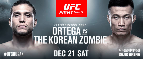 UFC Fight Night: Ortega vs The Korean Zombie tickets now on sale, featherweight bout Dooho Choi vs Charles Jourdain added - UFCBusan